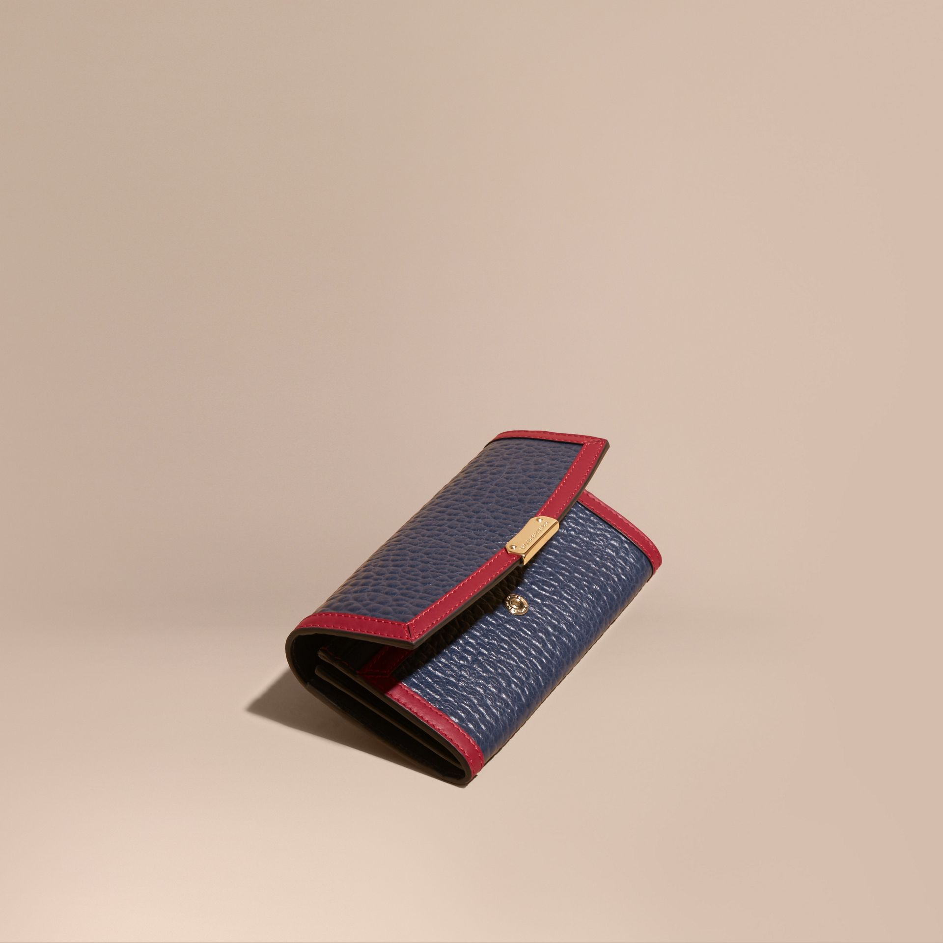 Blue crbn/parade red Border Detail Signature Grain Leather Continental Wallet - gallery image 1
