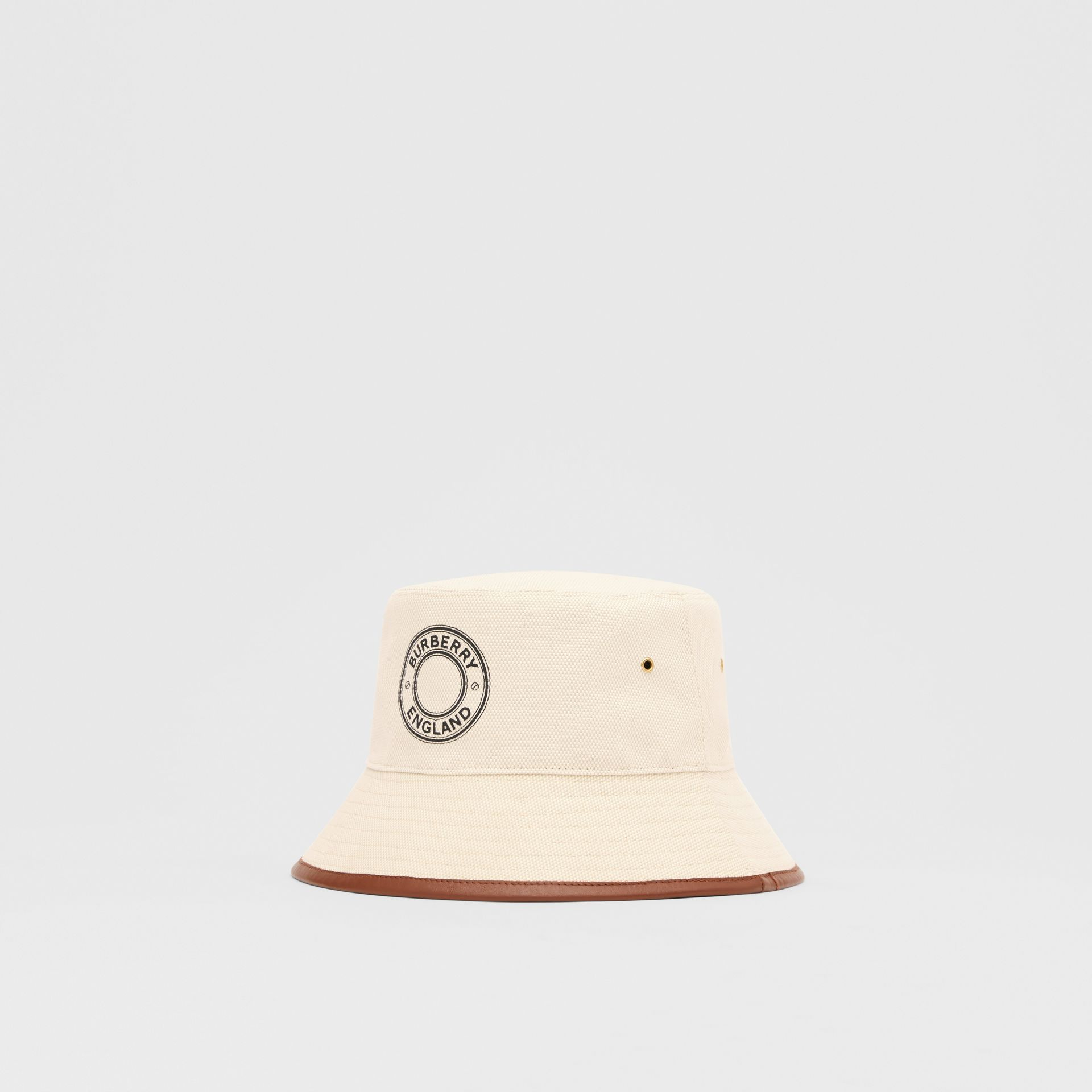 Leather Trim Logo Graphic Canvas Bucket Hat in Beige | Burberry United Kingdom - gallery image 5