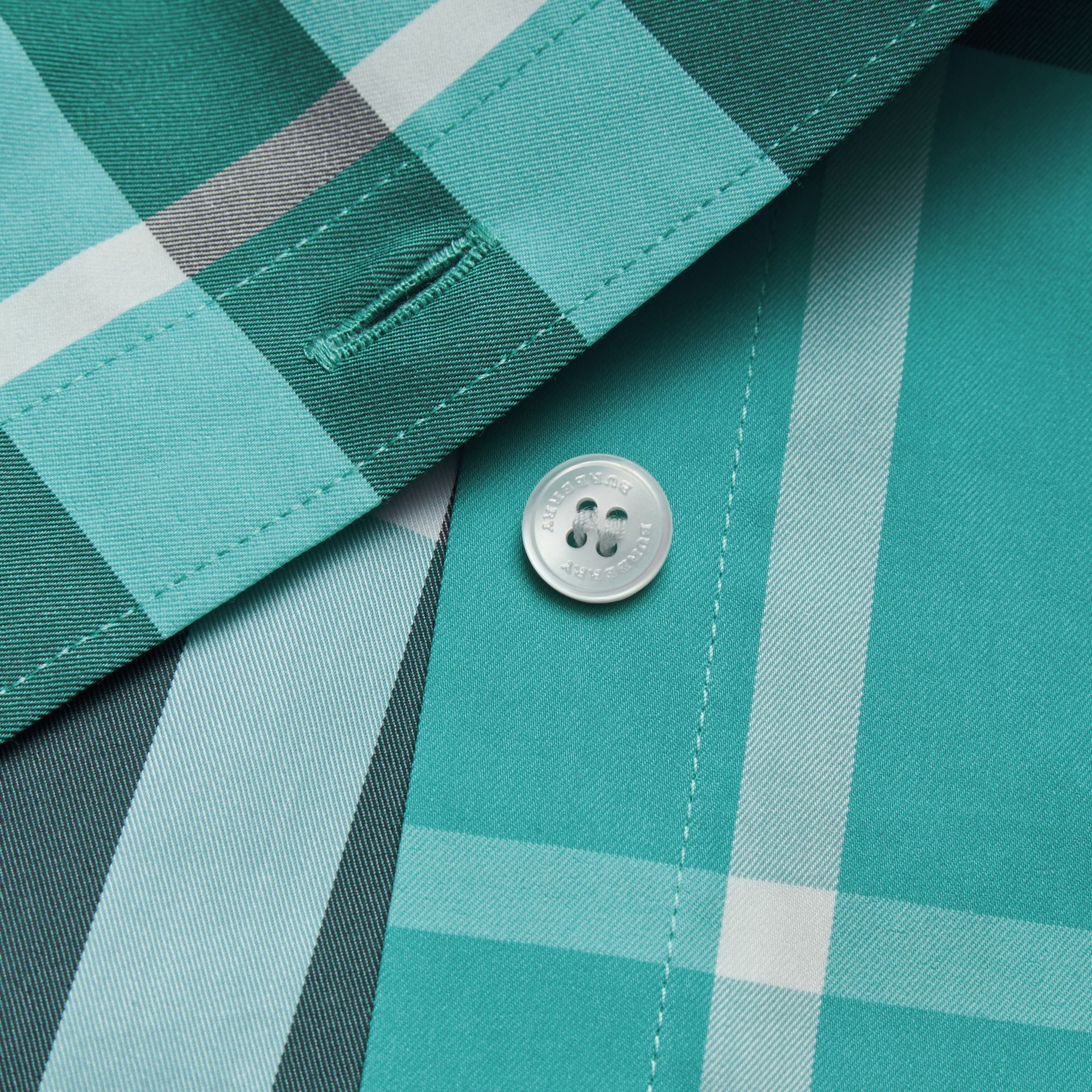 Short-sleeved Check Stretch Cotton Shirt in Cyan Green - Men | Burberry - gallery image 2