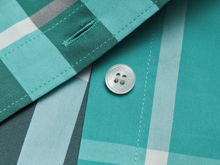 Short-sleeved Check Stretch Cotton Shirt in Cyan Green - Men | Burberry Canada - cell image 1