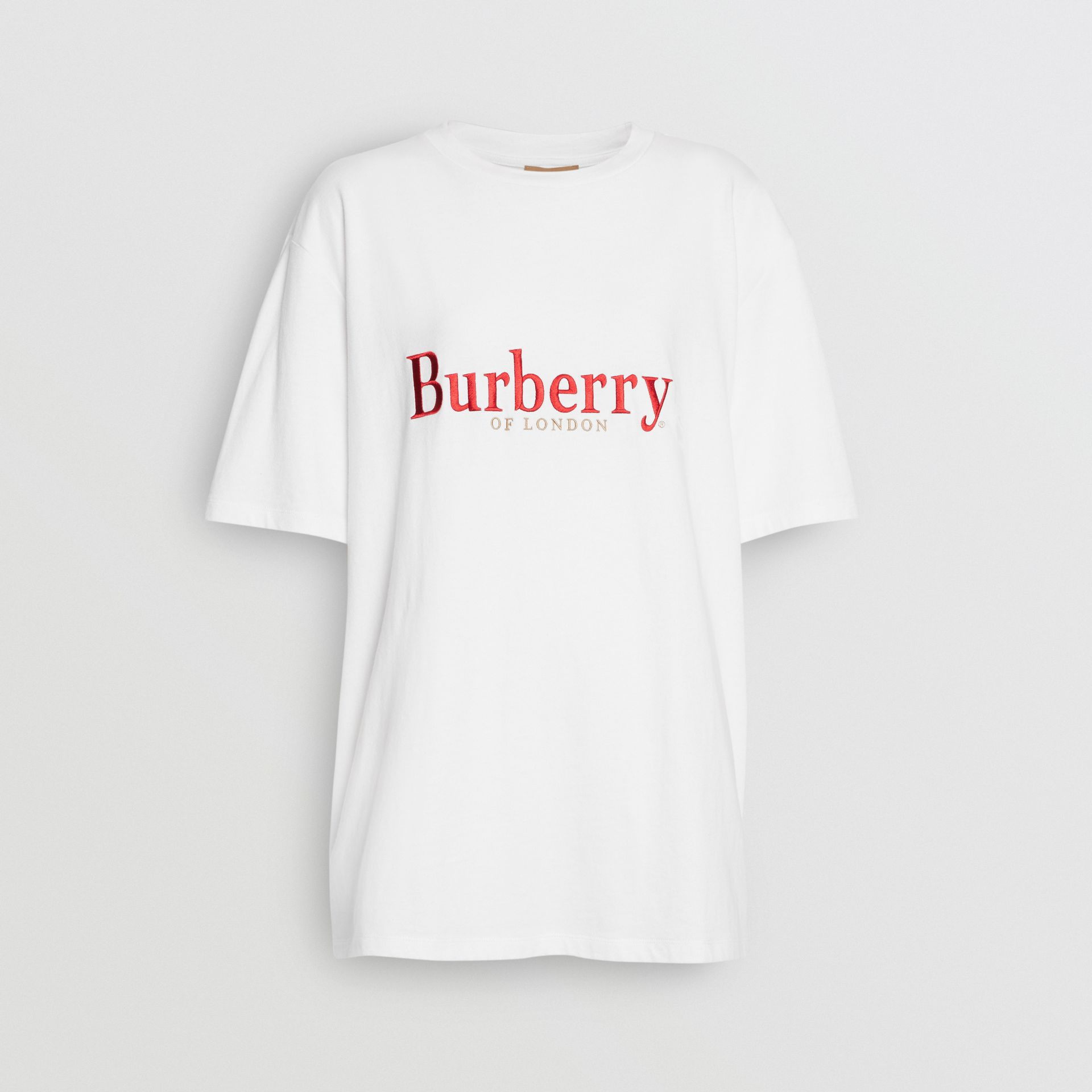 Embroidered Archive Logo Cotton T-shirt in White/red - Women | Burberry - gallery image 3