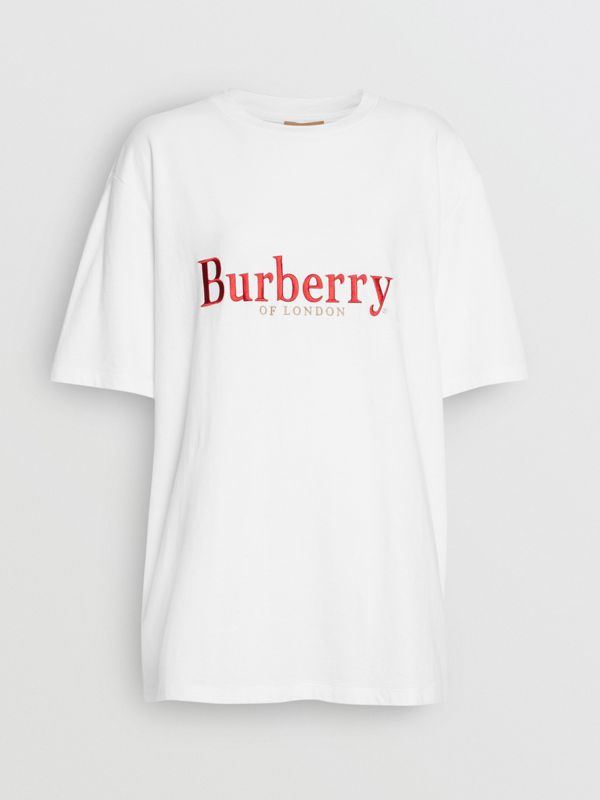 Embroidered Archive Logo Cotton T-shirt in White/red - Women | Burberry United Kingdom - cell image 3