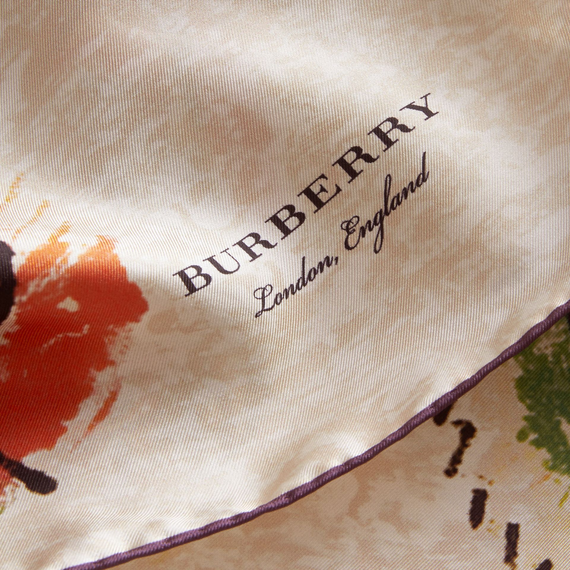 Pallas Heads Print Silk Square – Small in Pale Orange - Women | Burberry - gallery image 2
