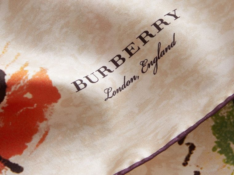 Pallas Heads Print Silk Square – Small in Pale Orange - Women | Burberry - cell image 1
