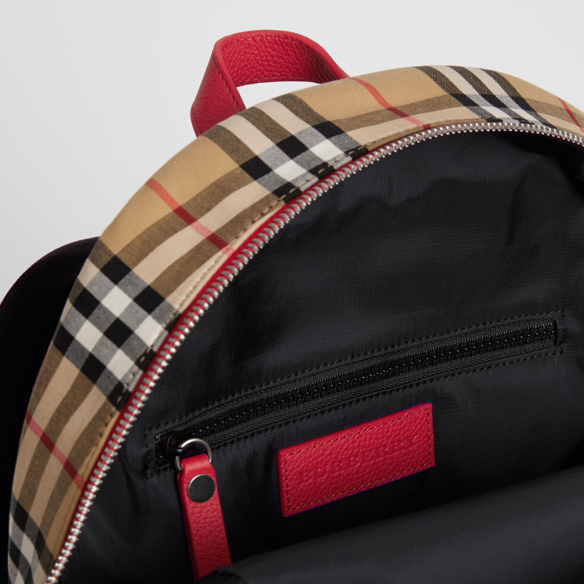 Embroidered Archive Logo Vintage Check Backpack in Antique Yellow | Burberry - gallery image 3