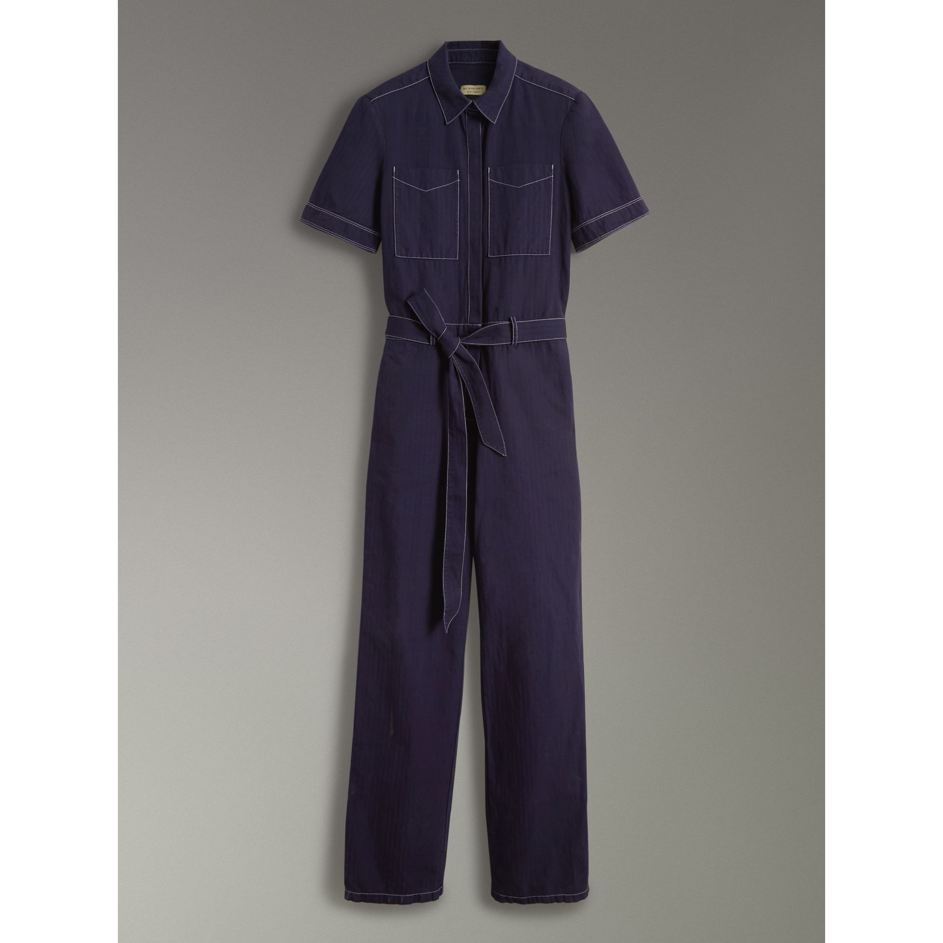Cotton Linen Workwear Jumpsuit in Deep Indigo - Women | Burberry - gallery image 3