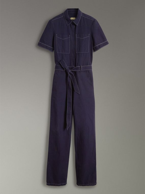 Jumpsuit aus Baumwolle und Leinen in Workwear-Optik (Tiefes Indigo) - Damen | Burberry - cell image 3