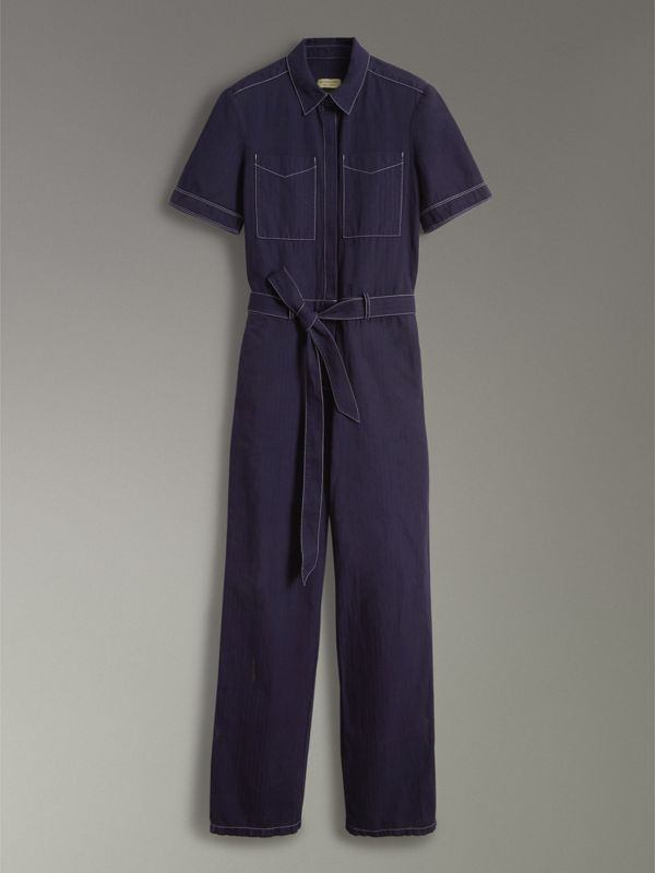 Cotton Linen Workwear Jumpsuit in Deep Indigo - Women | Burberry - cell image 3