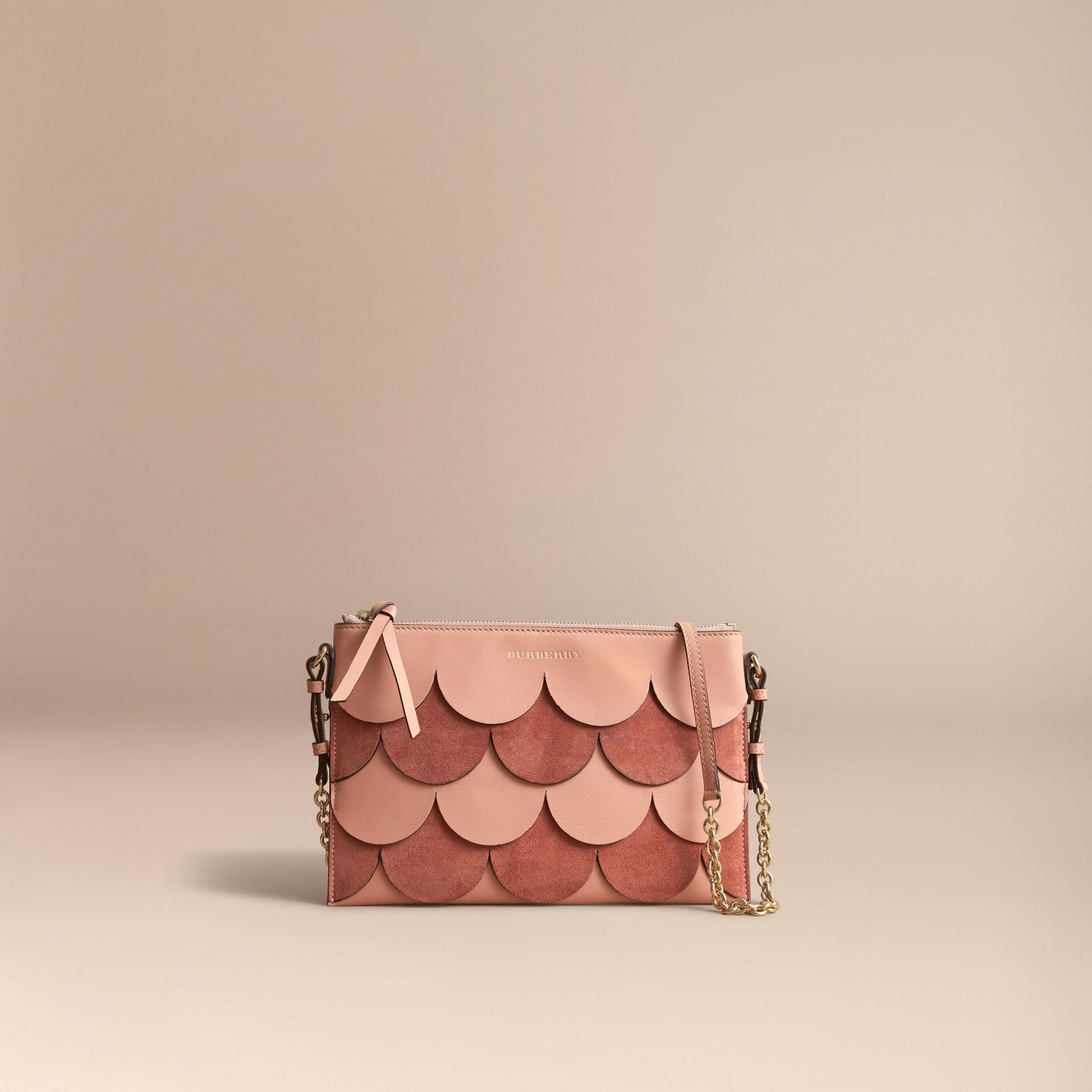 Two-tone Scalloped Leather and Suede Clutch Bag in Ash Rose - Women | Burberry Australia - gallery image 8