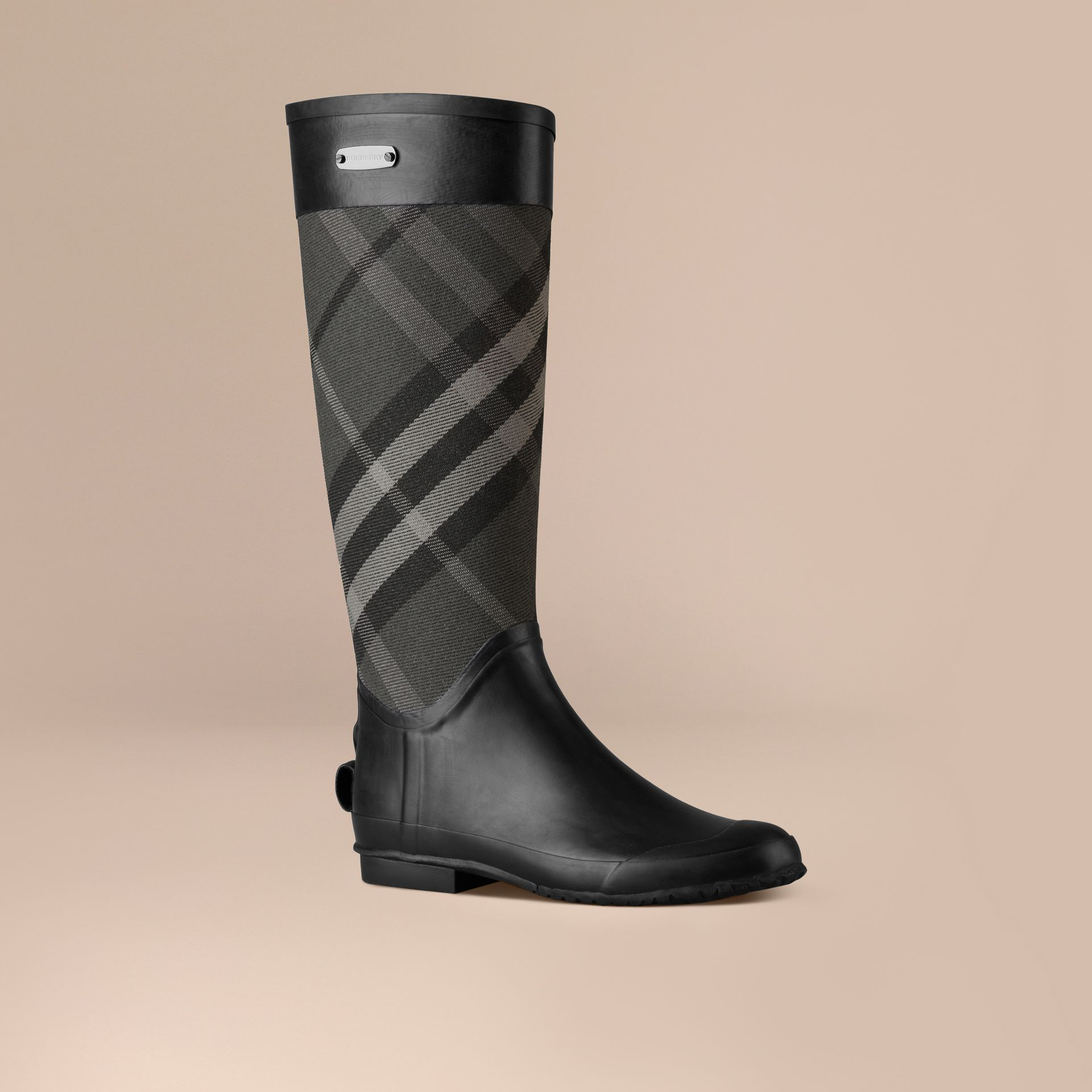 Charcoal Check Panel Rain Boots Charcoal - gallery image 1