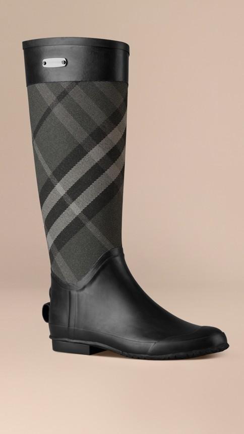Charcoal Check Panel Rain Boots Charcoal - Image 1
