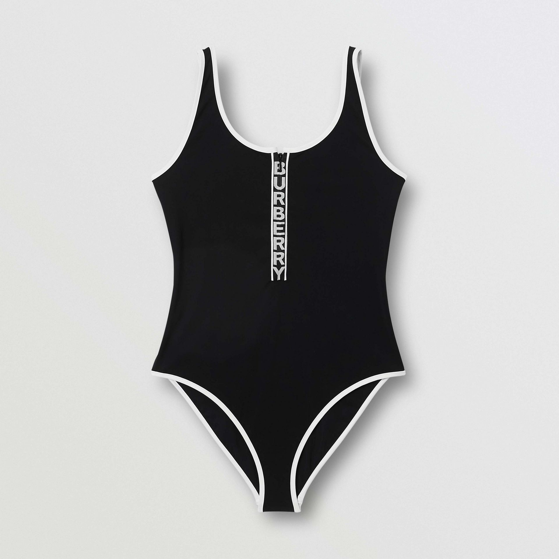 Logo Detail Zip-front Swimsuit in Black - Women | Burberry - gallery image 2