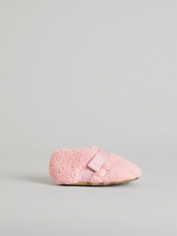 Faux Fur and Vintage Check Booties in Ice Pink | Burberry - cell image 3