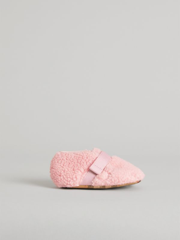 Faux Fur and Vintage Check Booties in Ice Pink - Children | Burberry - cell image 3