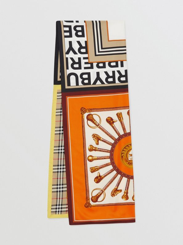 Pañuelo en seda con estampado de montaje (Beige Vintage)