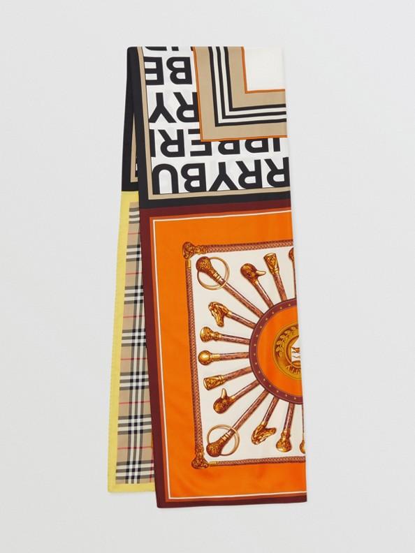 Montage Print Silk Scarf in Archive Beige