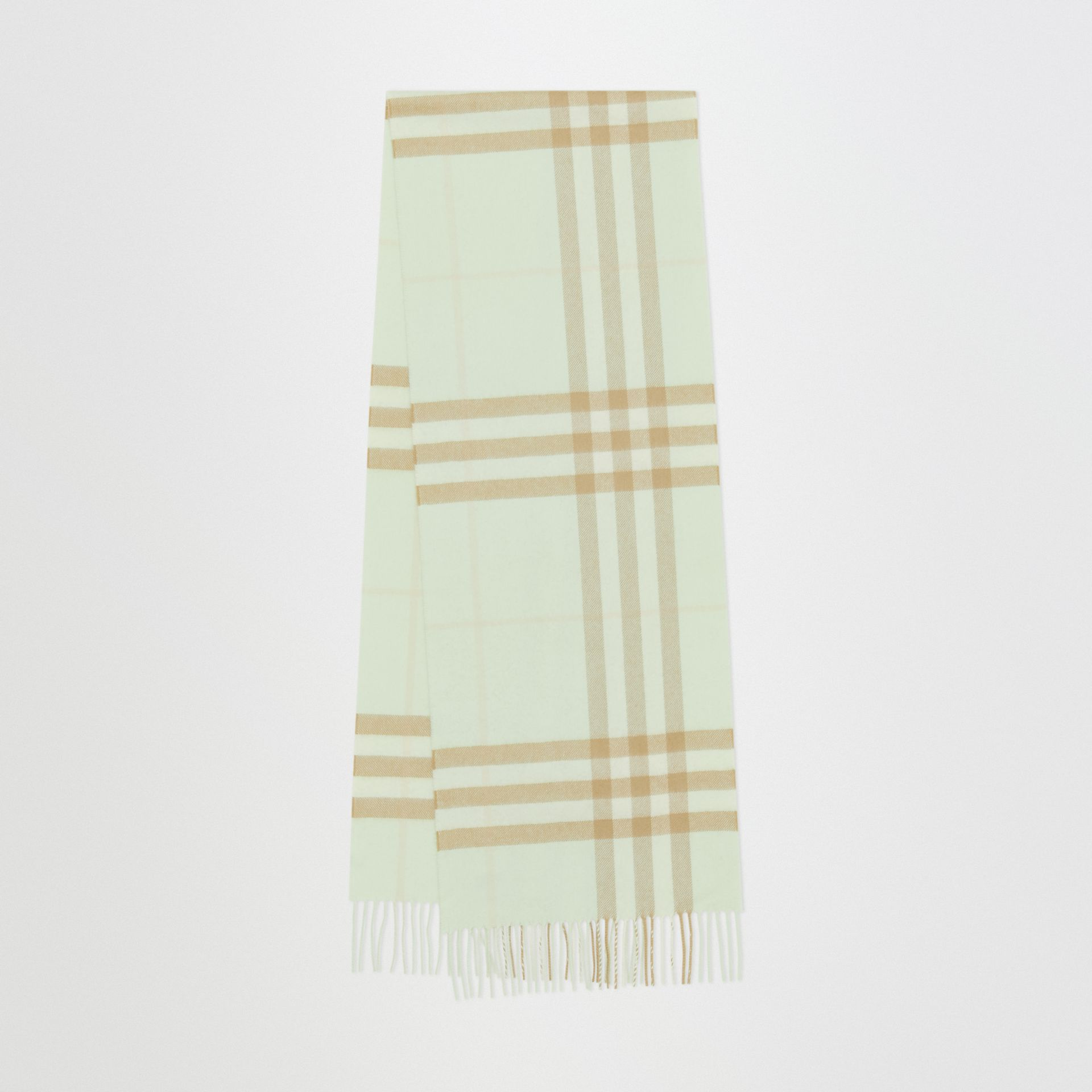 The Classic Check Cashmere Scarf in Pistachio | Burberry - gallery image 0