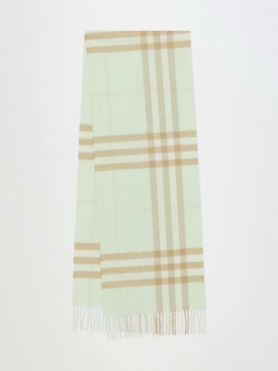 The Classic Check Cashmere Scarf in Pistachio