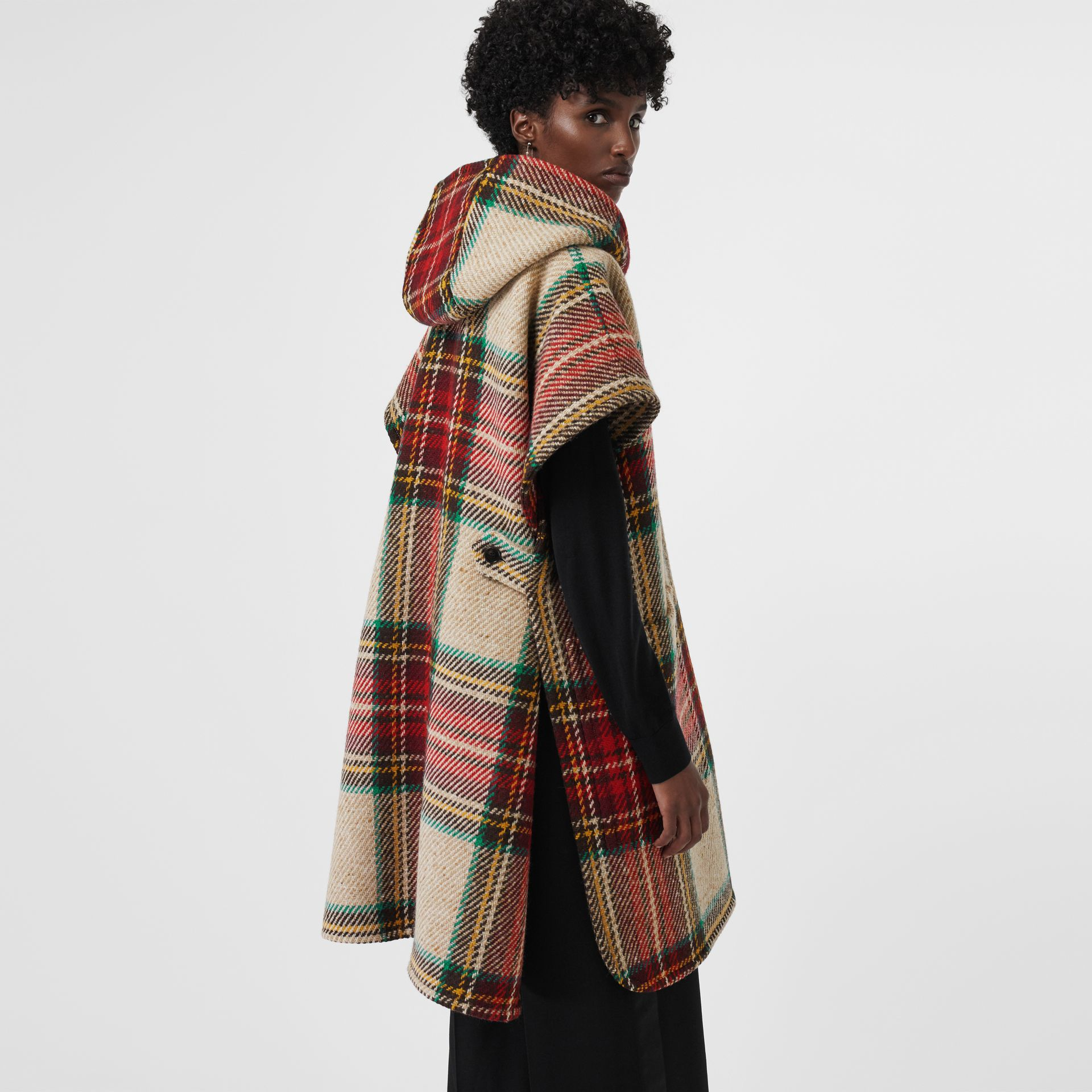 Tartan Wool Hooded Poncho in Crimson - Women | Burberry - gallery image 2
