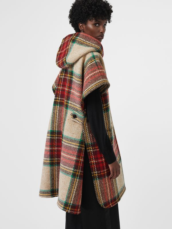 Tartan Wool Hooded Poncho in Crimson - Women | Burberry - cell image 2