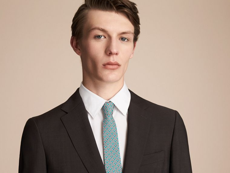 Slim Cut Abstract Floral Silk Tie in Mineral Green - Men | Burberry - cell image 2