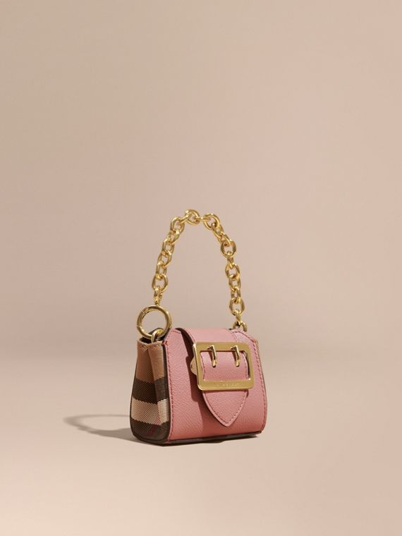 The Mini Buckle Tote Charm in Leather and House Check Dusty Pink