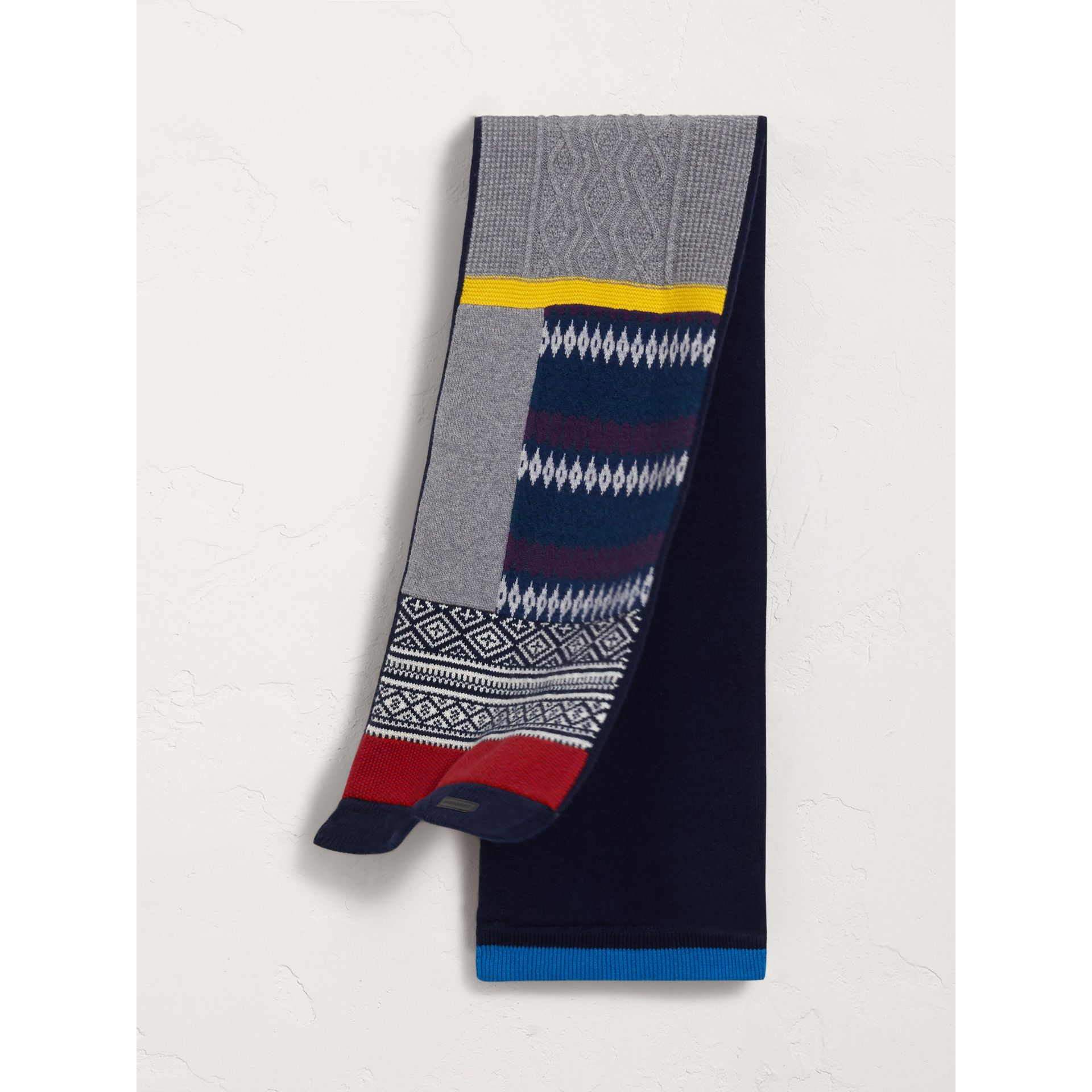 Fair Isle Wool Cashmere Mini Scarf in Brilliant Blue | Burberry - gallery image 1