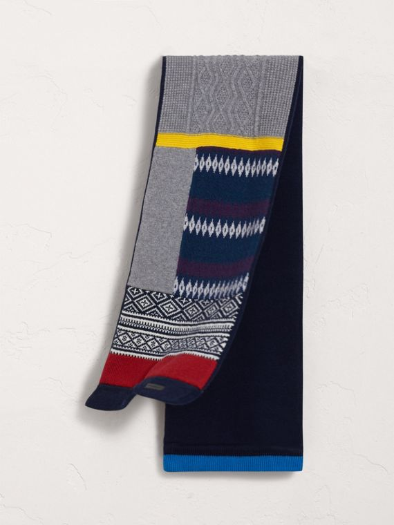 Fair Isle Wool Cashmere Mini Scarf in Brilliant Blue