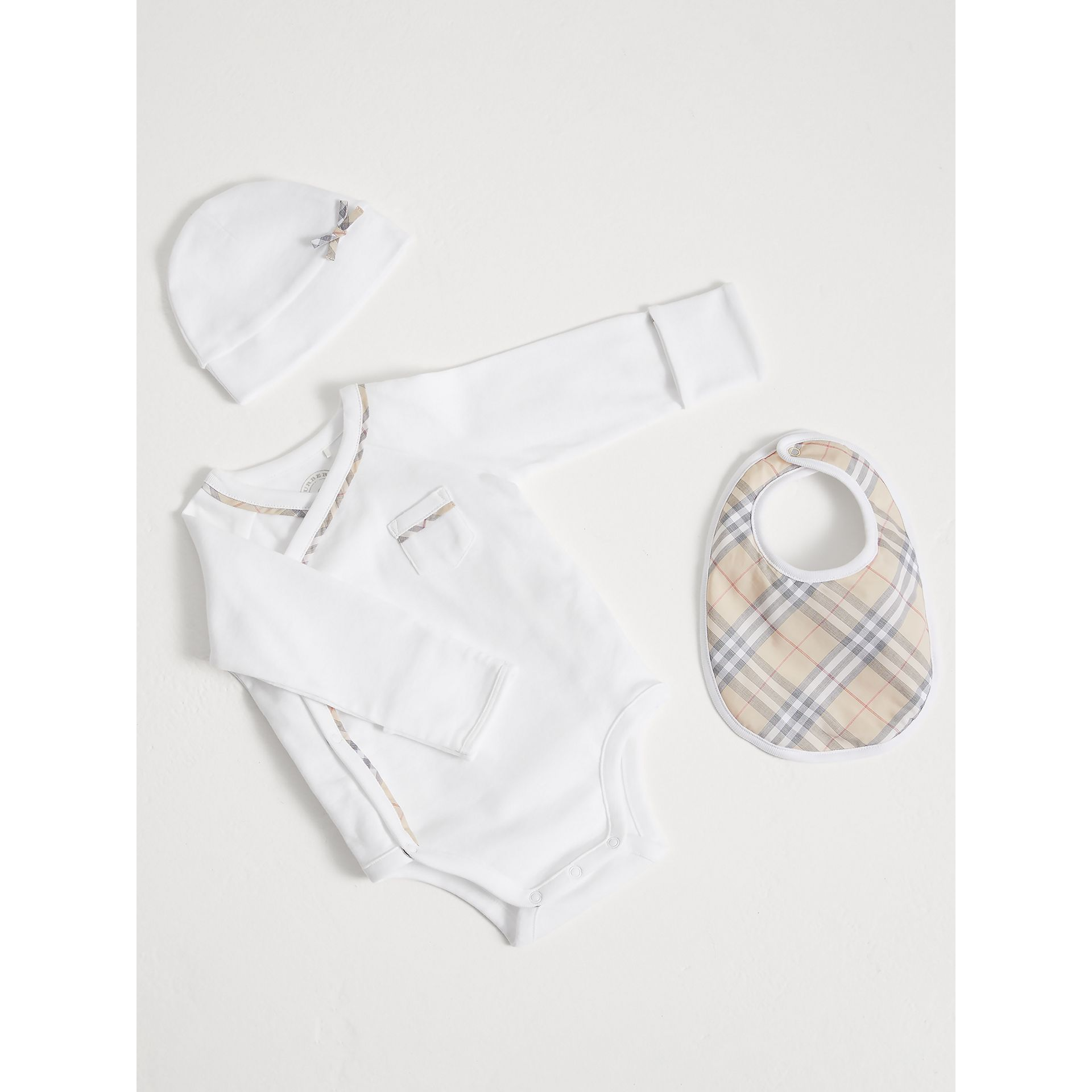 Check Cotton Three-piece Baby Gift Set in White | Burberry United States - gallery image 0