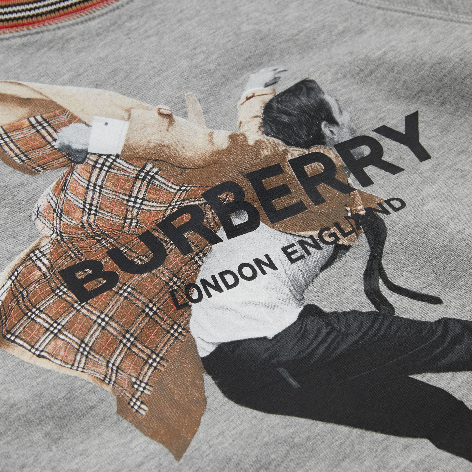 Jump Print Cotton Sweatshirt in Grey Melange | Burberry - gallery image 1