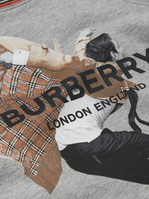 Jump Print Cotton Sweatshirt in Grey Melange | Burberry - cell image 1