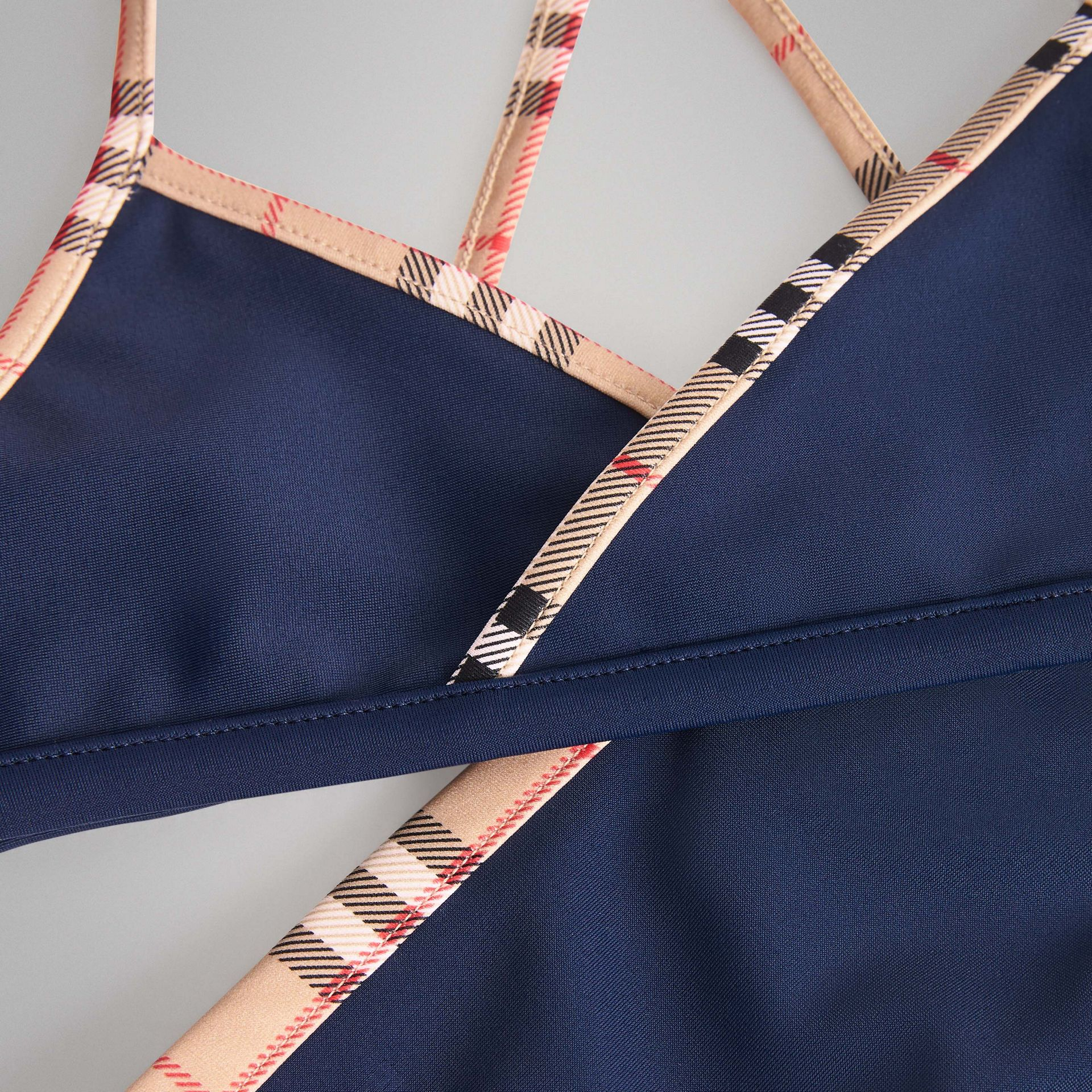 Check Trim Bikini in Navy | Burberry Australia - gallery image 1