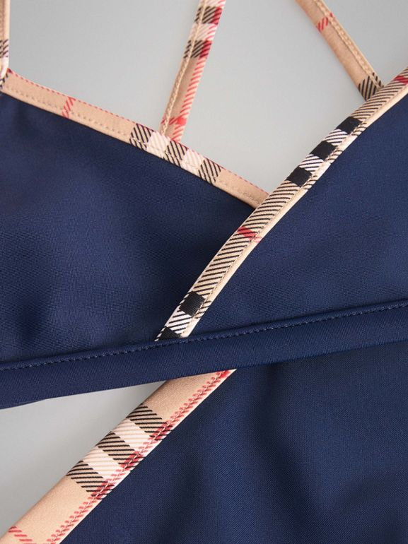 Check Trim Bikini in Navy - Girl | Burberry - cell image 1