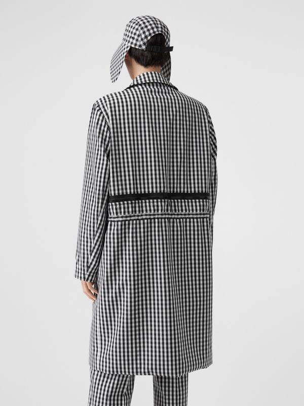 Gingham Technical Wool Loop-back Car Coat in Black | Burberry - cell image 2