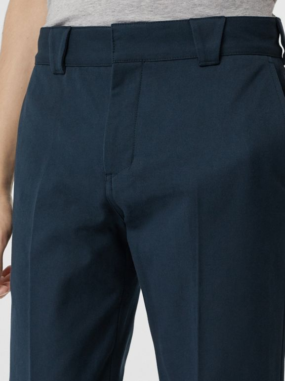 Technical Cotton Twill Trousers in Navy - Men | Burberry United Kingdom - cell image 1