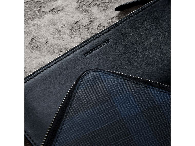 London Check Travel Wallet in Navy/black - Men | Burberry - cell image 1