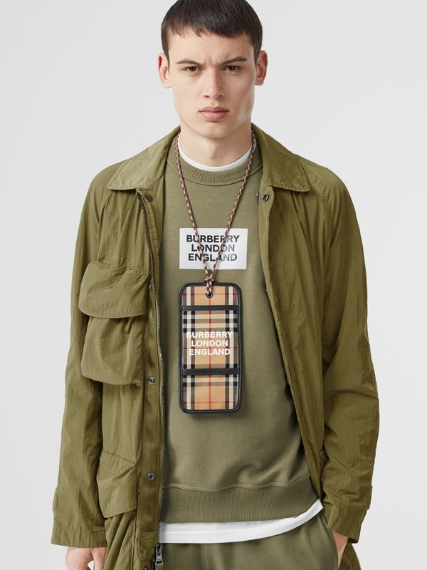 Logo Print Vintage Check Card Case Lanyard in Archive Beige - Men | Burberry Australia - cell image 2