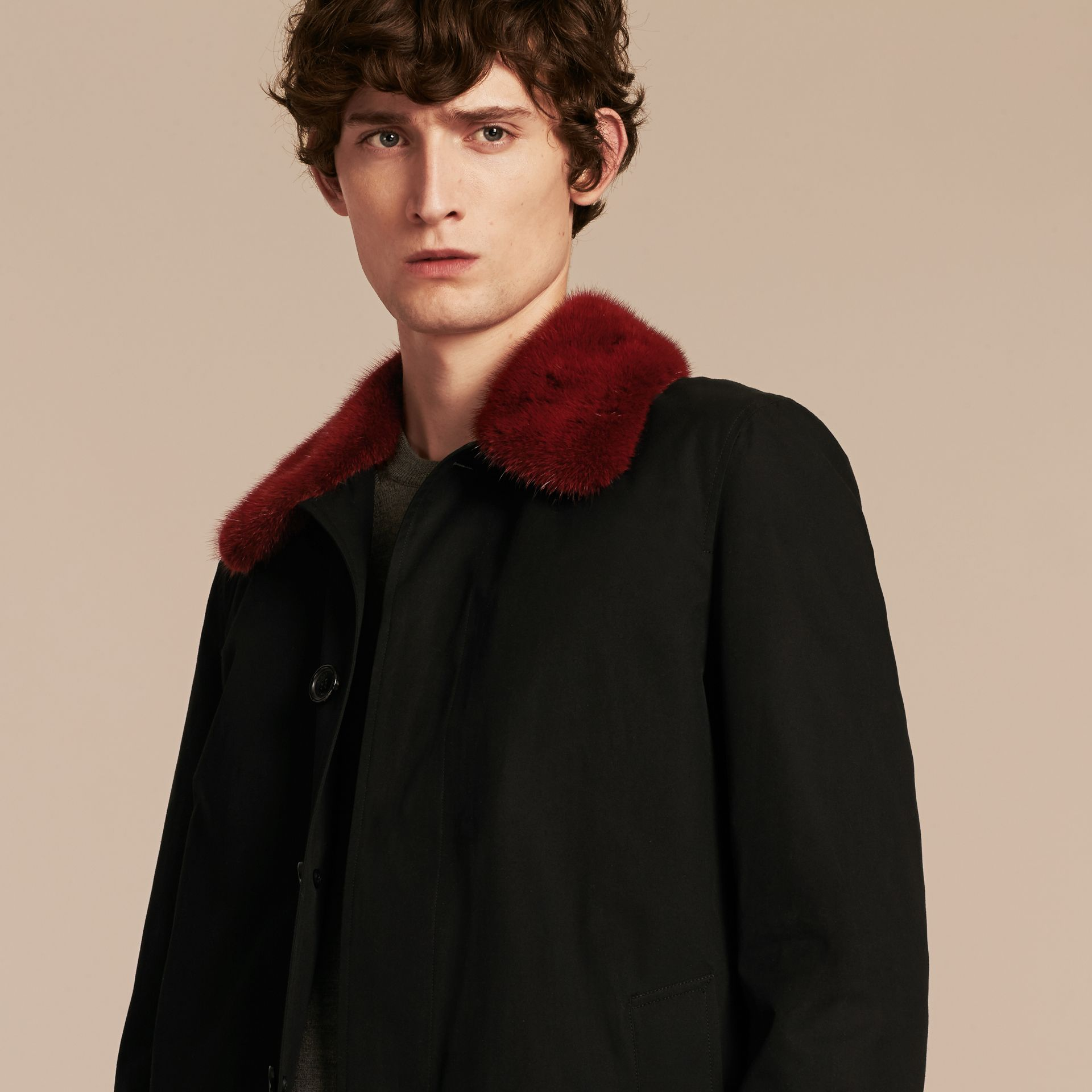 Black Cotton Car Coat with Detachable Mink Collar and Warmer - gallery image 5