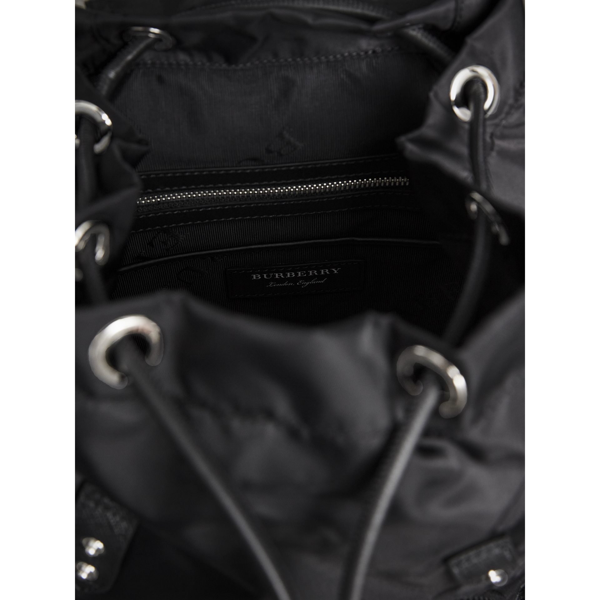 The Medium Rucksack in Technical Nylon and Leather in Black/black - Women | Burberry United Kingdom - gallery image 4