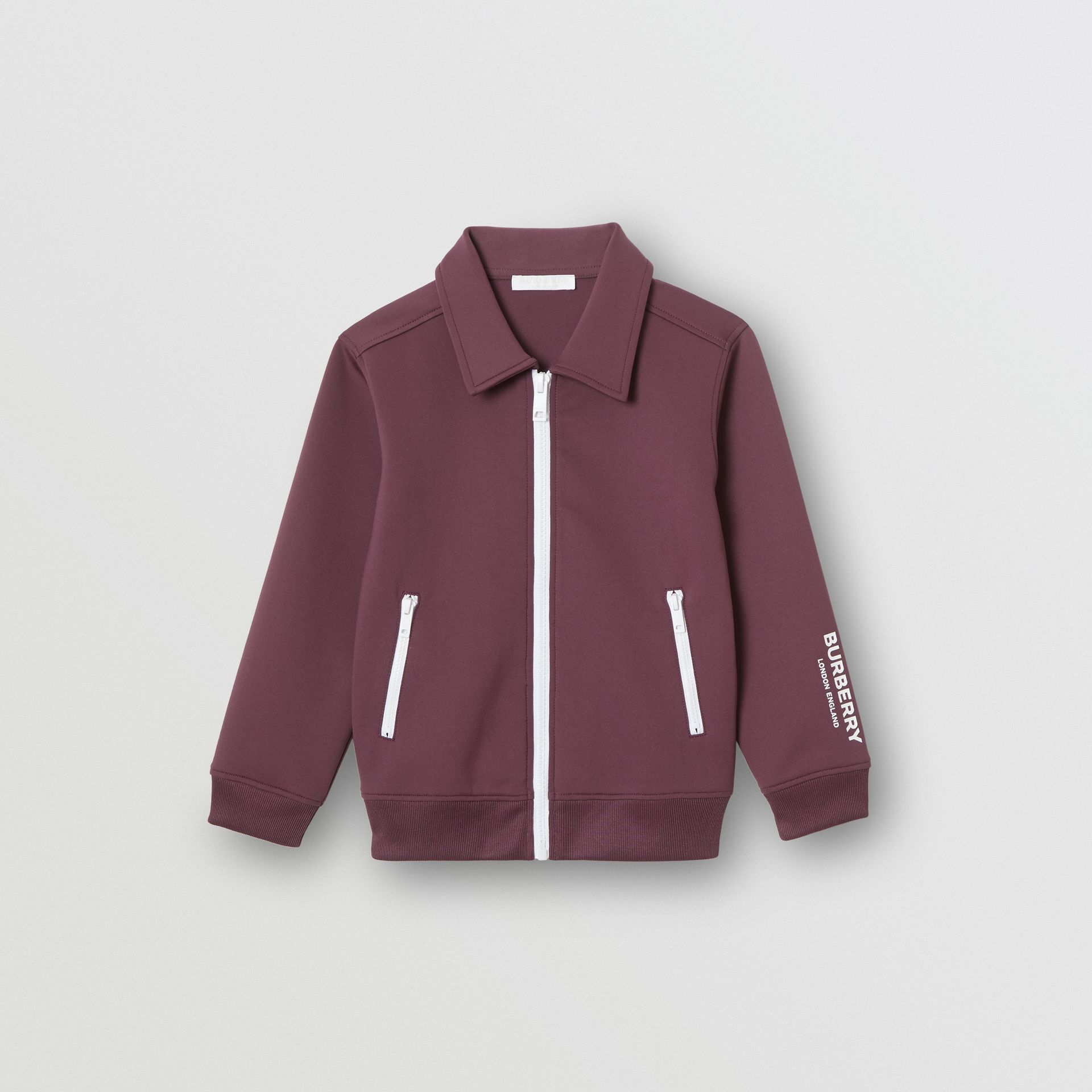 Logo Print Lightweight Track Top in Claret - Children | Burberry - gallery image 0