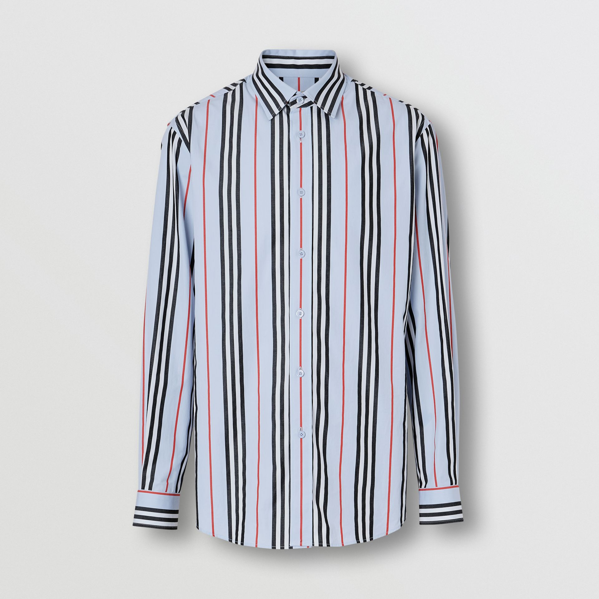 Icon Stripe Cotton Poplin Shirt in Pale Blue - Men | Burberry United States - gallery image 3
