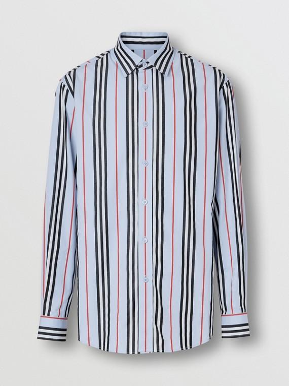 Icon Stripe Cotton Poplin Shirt in Pale Blue