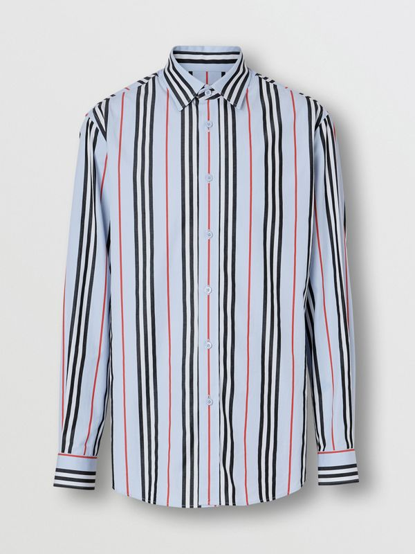 Icon Stripe Cotton Poplin Shirt in Pale Blue - Men | Burberry United States - cell image 3