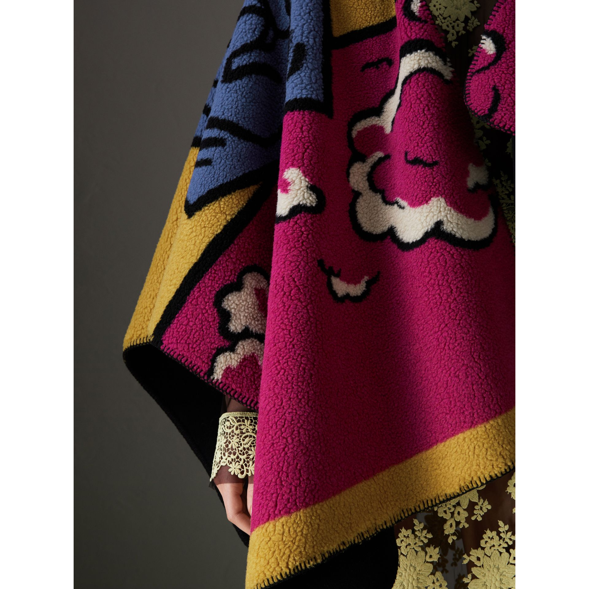 Poster Graphic Fleece Jacquard Hooded Poncho in Multicolour - Women | Burberry - gallery image 4