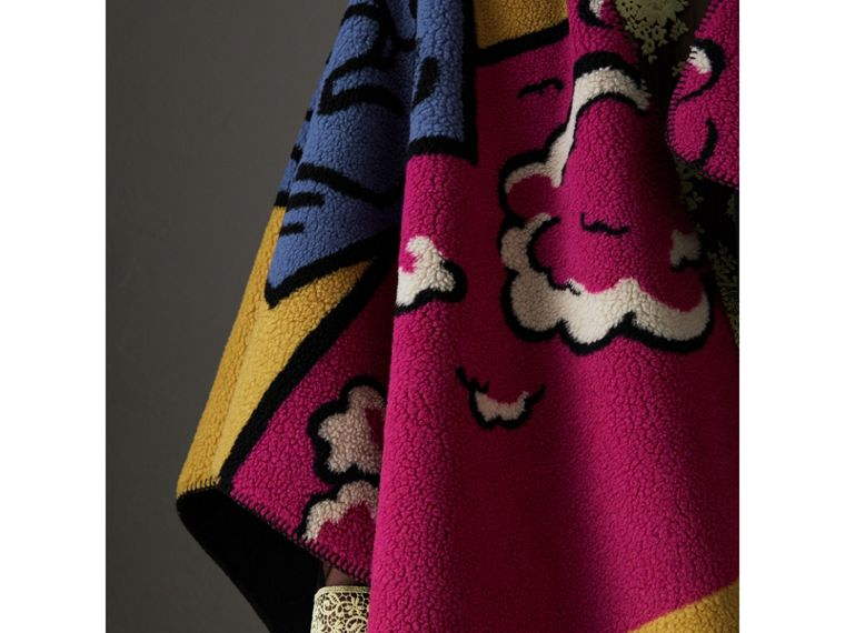 Poster Graphic Fleece Jacquard Hooded Poncho in Multicolour - Women | Burberry - cell image 4