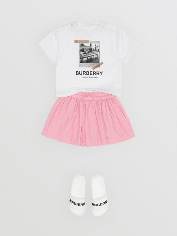 T-shirt en coton à imprimé polaroïd vintage (Blanc)