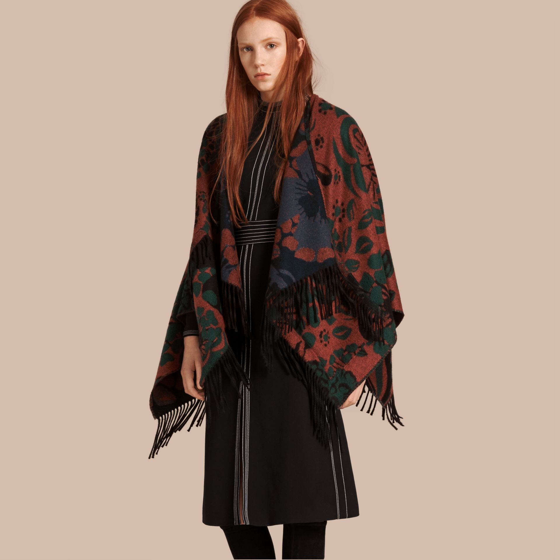 Burnt sienna Floral Jacquard Cashmere Poncho - gallery image 1