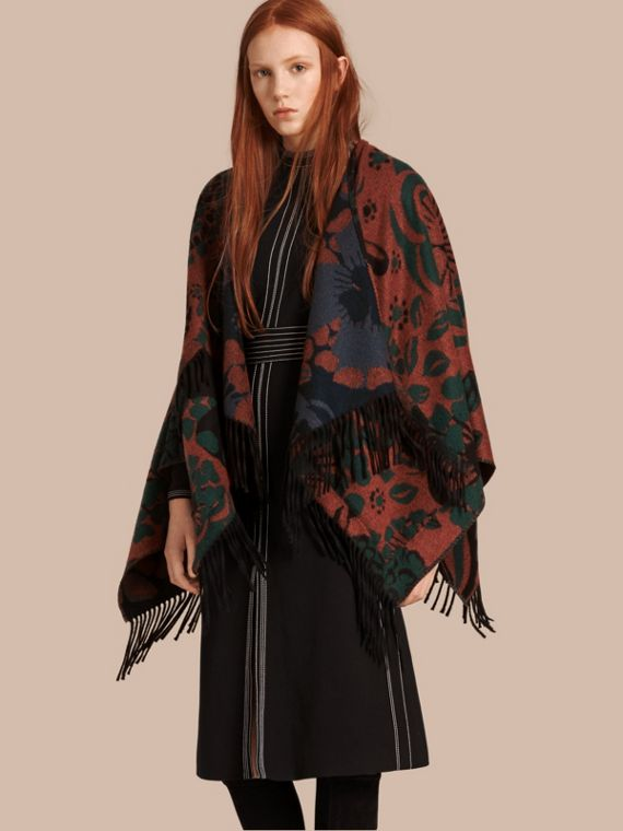 Jacquard-gewebter Poncho aus Kaschmir mit floralem Muster