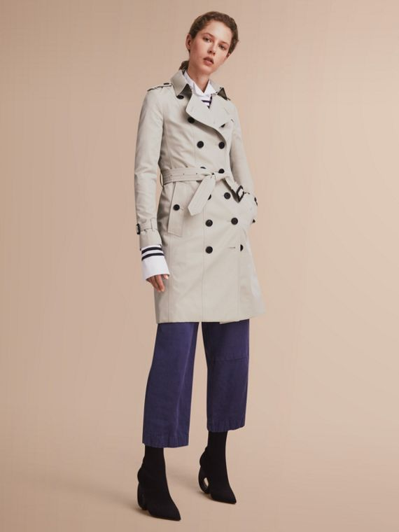 Trench coat Sandringham – Trench coat Heritage largo (Piedra) - Mujer | Burberry