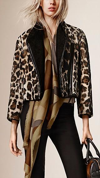 Cropped Animal-Print Shearling Jacket
